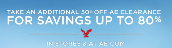 Take An Additional 50% Off AE Clearance For Savings Up To 80% | In Stores & At AE.com