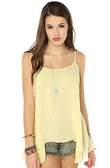 The Lace Insert Swing Cami in Lemon Juice