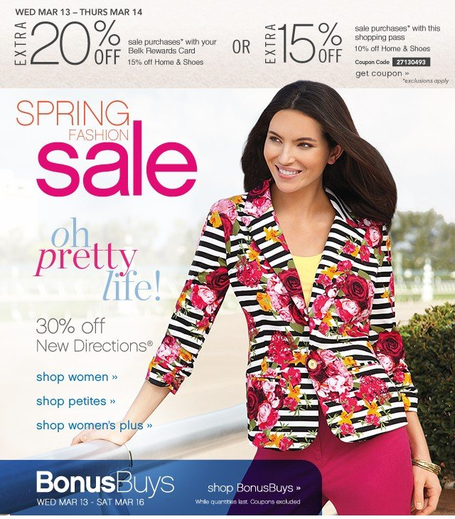 Spring Fashion Sale. 30% of New Directions®. Extra 20% off. Get coupon.