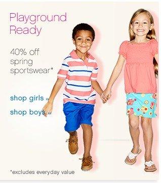 Playground Ready. 40% off spring sportswear. Shop now.
