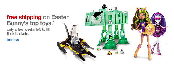 Free shipping on Easter Bunny's top toys.*