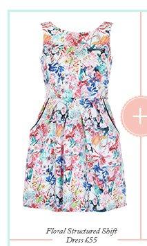 Floral Structured Shift Dress