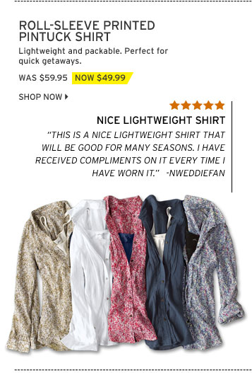 Roll-Sleeve Printed Pintuck Shirt