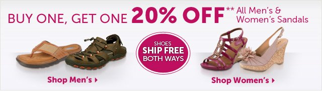 Buy One, Get One 20% OFF** All Men's & Women's Sandals - Shoes Ship Free Both Ways