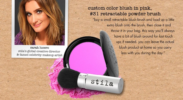 use a small retractable blush brush and load up a little extra blush...