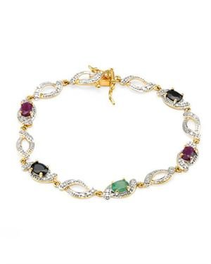 Ladies Ruby Bracelet Designed In Two Tone Gold Plated Silver $25