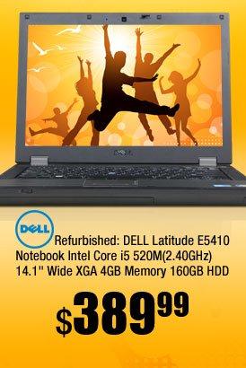 "Refurbished: DELL Latitude E5410 Notebook Intel Core i5 520M(2.40GHz) 14.1"" Wide XGA 4GB Memory 160GB HDD"