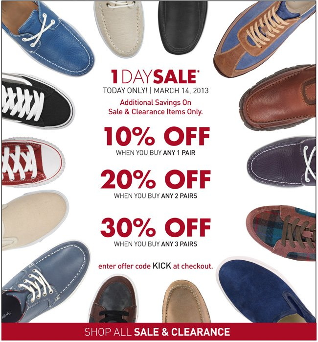 SXL Flash Sale: 10% off 1 pair of shoes, 20% off 2 pairs of shoes, 30% off 3+ pairs of shoes