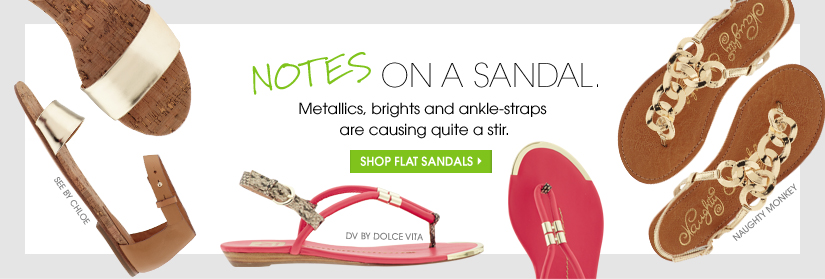 NOTES ON A SANDAL. SHOP FLAT SANDALS.