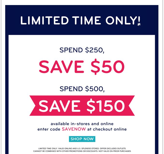 Spend and Save! Limited time only