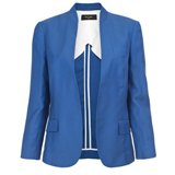 Paul Smith Jackets - Blue Drapy Drill Buttonless Jacket