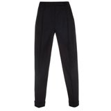 Paul Smith Trousers - Black Pleated Front Wool Stretch Trousers