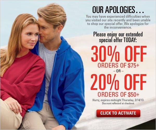 30% off orders $75+ or 20% off orders $50+