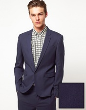 ASOS Skinny Fit Suit Jacket in Blue