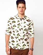 ASOS Shirt With Leopard Camo Print