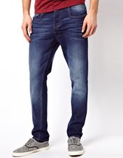 ASOS Tapered Jeans In Washed Blue