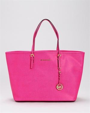 Michael Kors Genuine Leather Jet Set Medium Travel Tote Bag