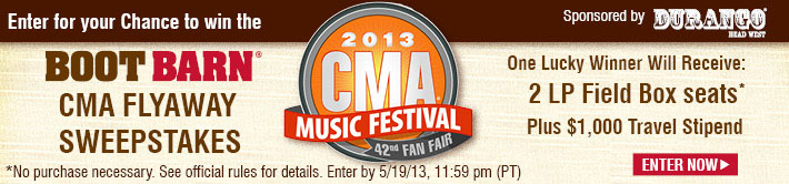 2013 CMA Music Festival Sweepstakes