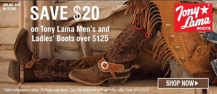 Save $20 on Tony Lama Boots