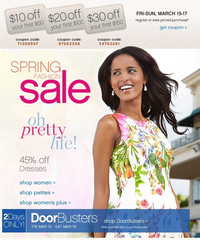 Spring Fashion Sale. 45% of Dresses. Get coupons.