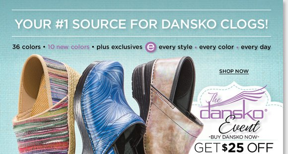 Shop 36 great Dansko Professional styles, including 10 NEW colors, plus exclusives from your #1 Dansko source. Shop now and save $25 on your next The Walking Company purchase when you buy Dansko today!* Find the best selection when you shop online and in stores at The Walking Company.