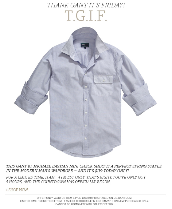 GANT by Michael Bastian Mini Check Shirt - $119 Today Only!