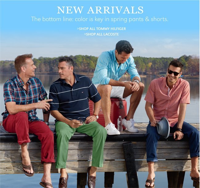 NEW ARRIVALS | THE BOTTOM LINE: COLOR IS KEY IN SPRING PANTS & SHORTS. | SHOP ALL TOMMY HILFIGER | SHOP ALL LACOSTE