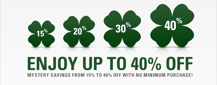 Enjoy up to 40% Off with your Mystery Offer Code below!