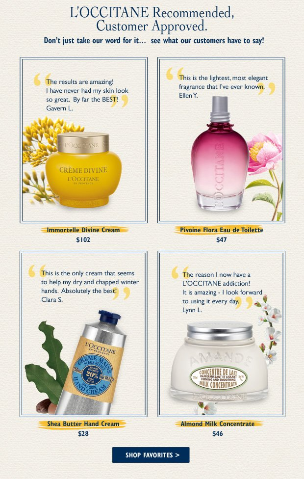 L'OCCITANE Recommended, Customer Approved