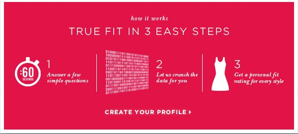 how it works TRUE FIT IN 3 EASY STEPS. Answer a few simple questions, Let us crunch the data for you, Get a personal fit rating for every style CREATE YOUR PROFILE >
