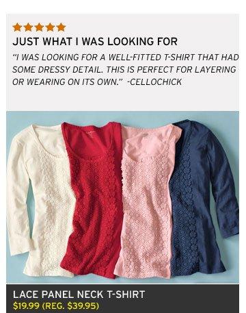 Lace Panel Neck T-Shirt
