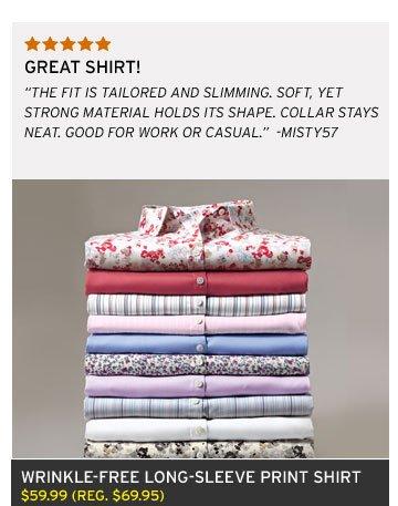 Wrinkle-Free Long-Sleeve Print Shirt