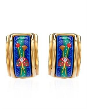 Hermes LN Gold Plated Blue Enamel Clip-On Earrings $299
