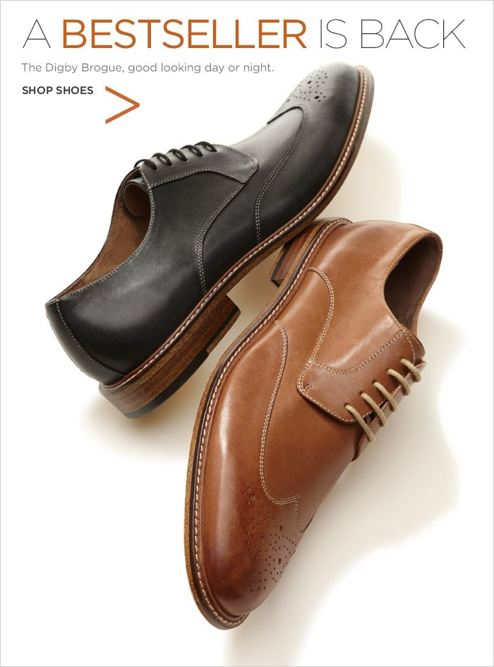 A BESTSELLER IS BACK | The Digby Brogue, good looking day or night. SHOP SHOES