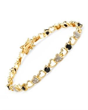 Ladies Sapphire Bracelet Designed In Yellow Gold Plated Silver $25