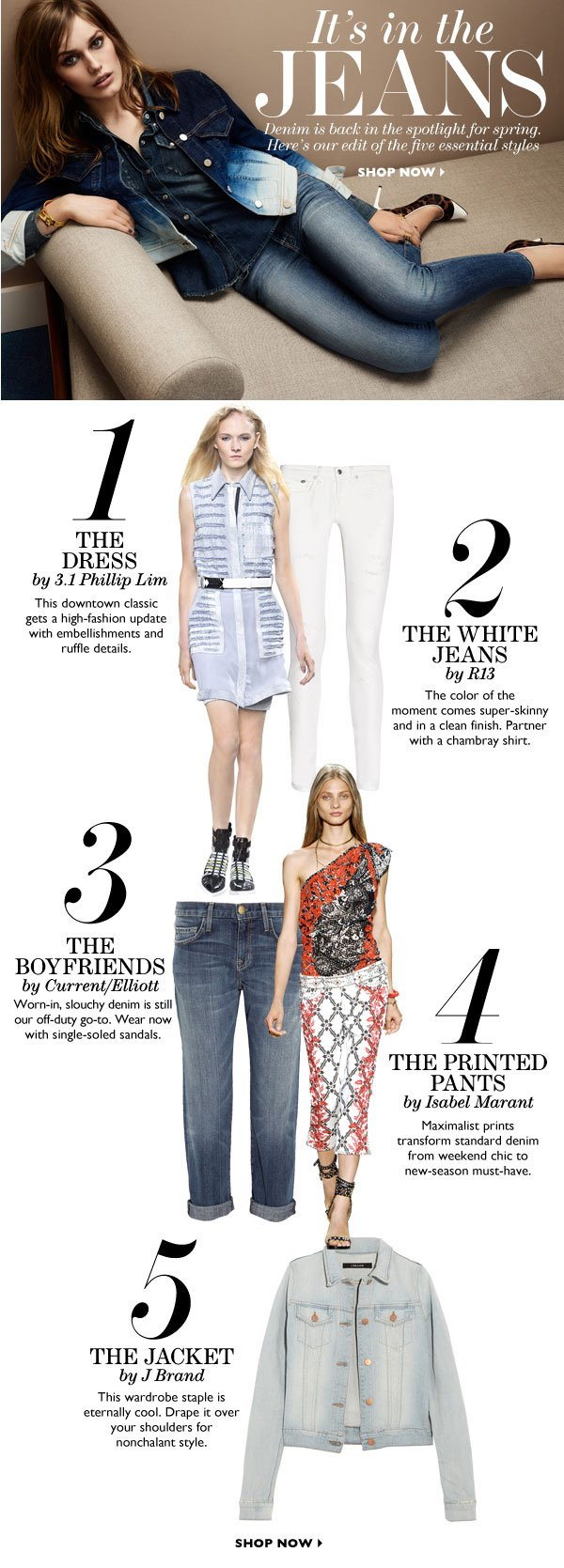 It's in the JEANS Denim is back in the spotlight for spring. Here's our edit of the five essential styles