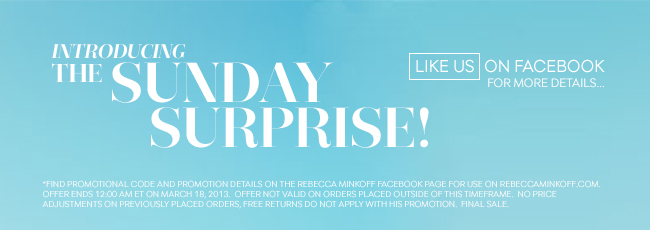 Introducing the Sunday Surprise! Like us on Facebook for more details