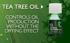 TEA TREE OIL -- Controls oil production without the drying effect
