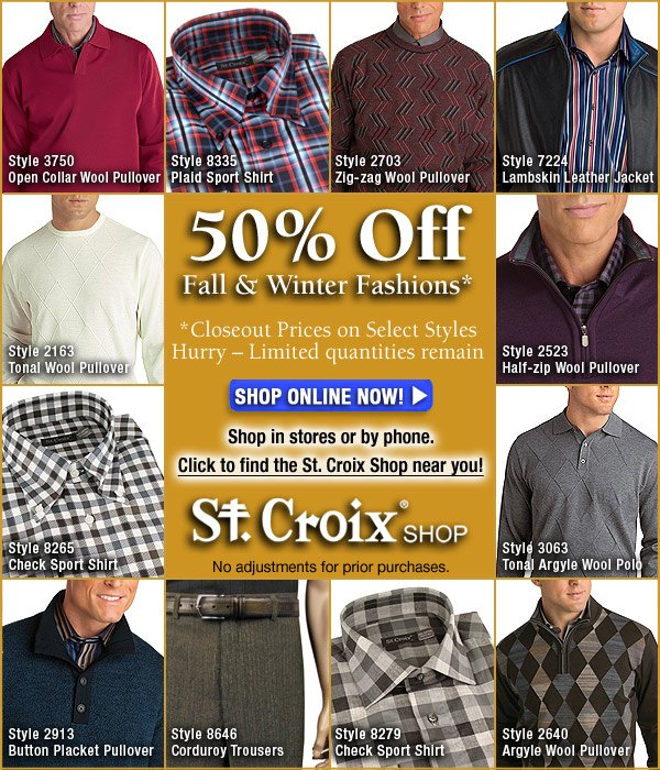 50% Off Select Fall and Winter Fashions!