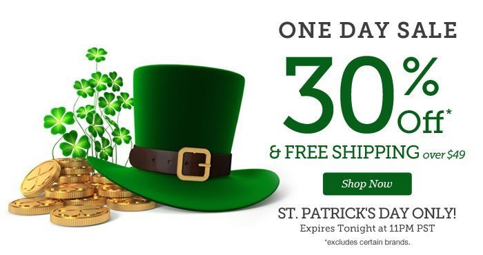 ONE DAY SALE | 30% OFF & Free Shipping over $49 | St. Patrick's Day Only! | Expires Tonight at 11pm PST | Shop Now