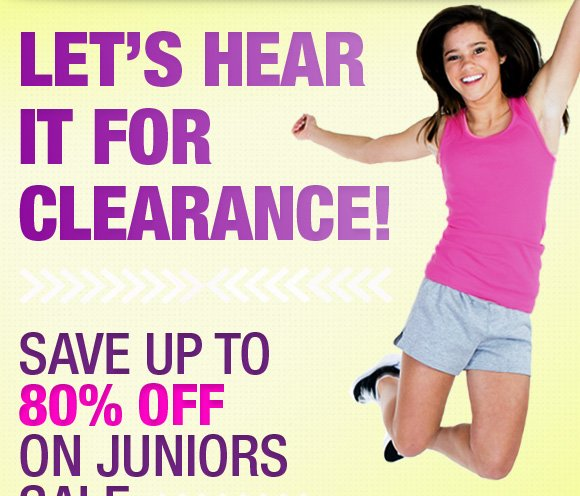 Let's hear it for clearance. Save up to 80% Off.