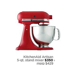 KitchenAid Artisan 5–qt. stand mixer $350 › msrp $429