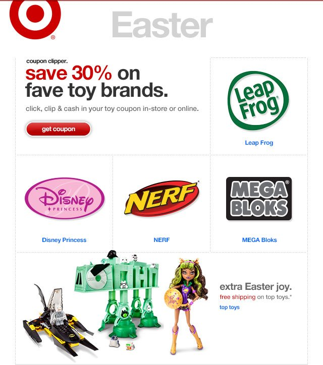 Coupon clipper. save 30% on fave toy brands.