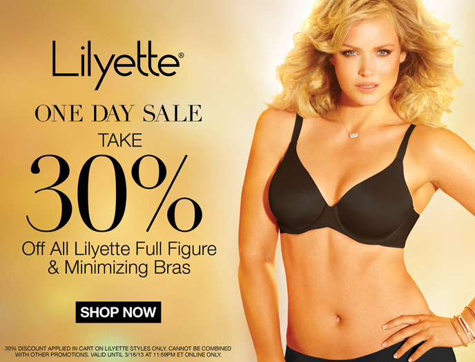 Lilyette One Day Sale Take 30% Off All Lilyette Full Figure & Minimizing Bras