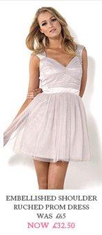 Embellished Shoulder Ruched Prom Dress