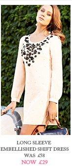 Long Sleeve Embellished Shift Dress