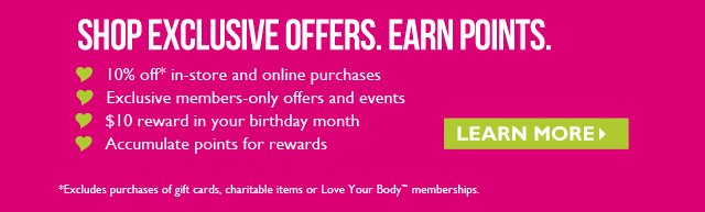 SHOP EXCLUSIVE OFFERS. EARN POINTS. --  Learn more
