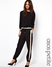 ASOS PETITE Exclusive Contrast Detail Cuffed Trousers