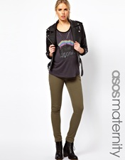 ASOS Maternity Exclusive Elgin Jeans With Stretch Waistband in Khaki