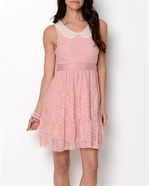 Ciel Collared Lace Dress- Made in USA $39